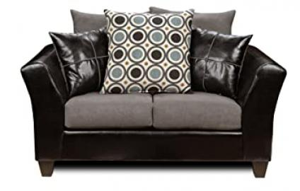 Chelsea Home Furniture Holly Loveseat, Upholstered in Denver Black/Flat Suede Graphite/San Francisco Blueberry.