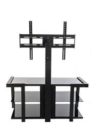 Home Source Industries TV11273 Modern TV Stand with Mount and Shelving for Components, Black/Metal
