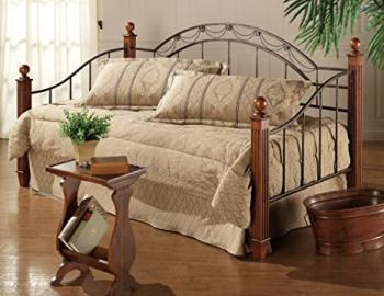 Camelot Metal Daybed w Wood & Metal Post in Black & Gold Finish