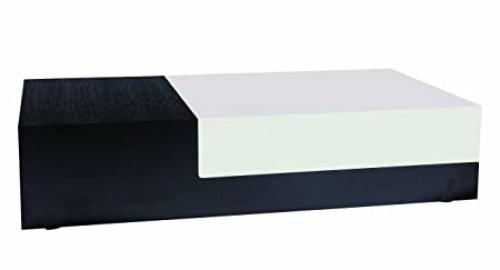 BH Design Hi-Gloss Coffee Table with Slide Out Storage Compartment, Wenge/White