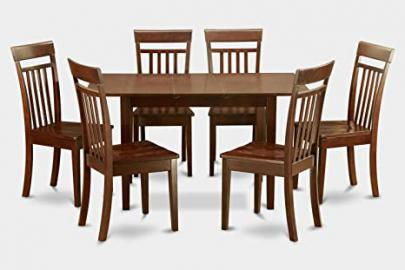East West Furniture NOCA7-MAH-W 7-Piece Kitchen Nook Dining Table Set