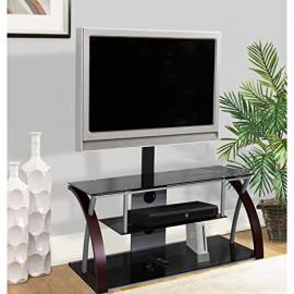 Home Source Industries TV11259 Modern TV Stand with Mount and Shelving for Components, Black/Metal