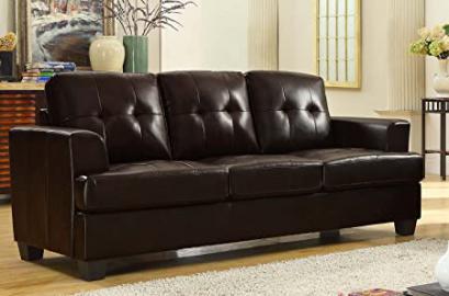 Homelegance Keaton Sofa in Brown Leather