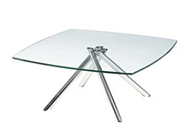 Whiteline Modern Living 1/2-Inch Tempered Glass Coffee Table with Chrome Legs