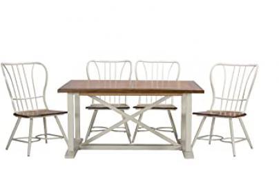 "Baxton Studio Longford ""Dark-Walnut"" Wood and White Metal Vintage Industrial 7-Piece Dining Set"
