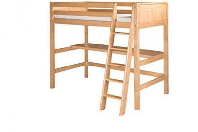 Camaflexi High Loft Bed with Desk and Panel Headboard, Natural Finish