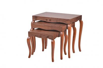 Contemporary Modern VICTOR Nesting Nested Coffee Tables Set of 3 (Walnut)