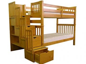 Bedz King Bunk Beds, Tall Twin over Twin with Stairway, Honey