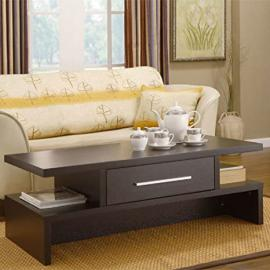 This Espresso Coffee Table Made of Hardwood with Storage Is the Perfect Centerpiece Decor for Any Living Room. This Coffee Table Is a Unique Piece of Furniture Offering a Contemporary Blend of Modern and Useful Features. A Contemporary Piece of Furniture