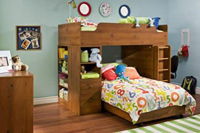 South Shore Logik Twin Over Twin L-shaped Wood Loft Bunk Bed In Sunny Pine Finish