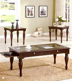 3pc Coffee Table and End Tables Set in Espresso Finish