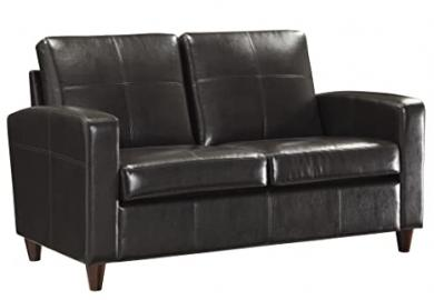 OSP Furniture Lounge Espresso Eco Leather Loveseat with Espresso Finish Legs