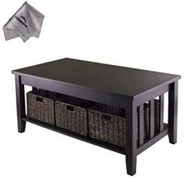 Morris Coffee Table with 3 Foldable Baskets and With Chanasya Polish Cloth