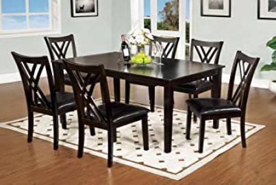 Furniture of America 7-Piece Hearst Rectangular Dining Table and Chair Set, Espresso Finish