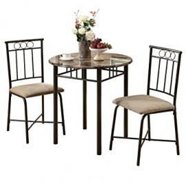 Venice Bronze and Marble Style 3-Piece Bistro Dining Set, Cappuccino