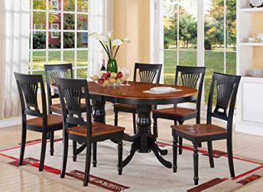 East West Furniture PLAI7-BLK-W 7-Piece Dining Table Set