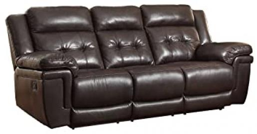 Homelegance 8407-3 Double Reclining Sofa, Dark Brown Breathable Faux Leather