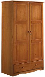 "100% Solid Wood Universal Wardrobe/Armoire/Closet by Palace Imports, Honey Pine Color, 40""w x 72""h x 21""d, 2 Clothing Rods, 2 Shelves, 1 Lock, 1 Drawer Included. Additional Shelves in Packs of 2 Sold Separately. Requires Assembly"
