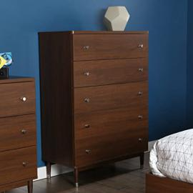 South Shore Olly Mid-Century Modern 5 Drawer Chest, Brown Walnut