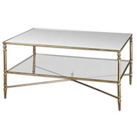 "38"" Collier Antiqued Gold Leaf, Mirror & Glass Rectangular Coffee Table"