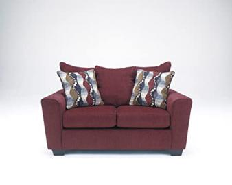 Brogain Contemporary Red chenille upholstery fabric Loveseat