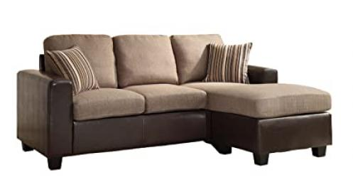 Homelegance 8401-3SC Reversible Sofa Chaise with 2 Pillows, Brown Linen-Like Fabric and Bi-Cast Vinyl