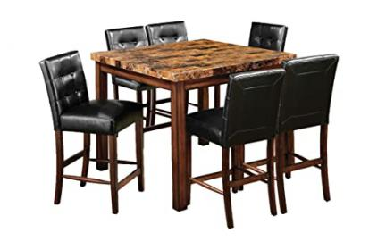 Furniture of America Carignan 7-Piece Square Counter Height Table Set with Faux Marble Top, Dark Oak Finish