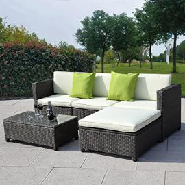 Giantex Outdoor Patio 5pc Furniture Sectional Pe Wicker Rattan Sofa Set Deck Couch Black (Black)