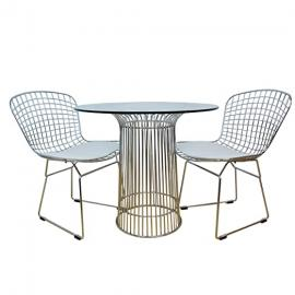 ModMade 3 Piece Nat Chromed Steel Dining Set, Silver Table/White Chairs