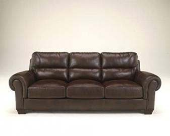 Vevinia Chestnut Faux Leather Upholstered Contemporary Style Rolled Arm Sofa
