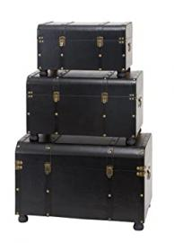 Deco 79 Wood Leather Trunk, 29 by 24 by 20-Inch, Set of 3
