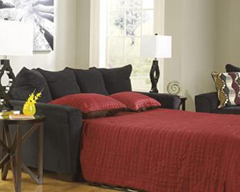 Brogain Ebony Chenille Fabric Upholstered Contemporary Queen Size Sleeper Sofa