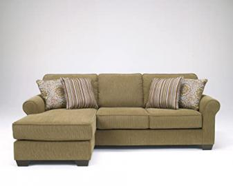 Corridon Burlap Collection Contemporary Chenille Fabric Upholstered Sofa Chaise