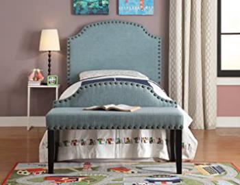 Furniture of America 2 Piece Heiden Modern Headboard with Bench Set, Twin, Light Blue