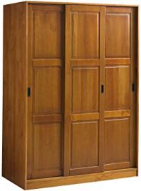 100% Solid Wood 3-Sliding Door Wardrobe/Armoire/Closet by Palace Imports, Honey Pine Color, 1 Full/5 Small Shelves, 1 Clothing Rod Included. Additional Full Shelves Sold Separately. Requires Assembly