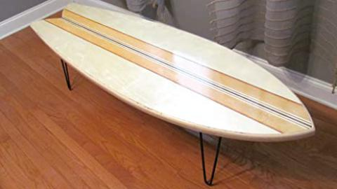 Retro Fish Surfboard Coffee Table 5 Ft. 4 In.