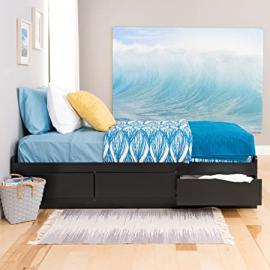 Metro Shop Black Twin Mate's Composite-Wood Platform Storage Bed with Three Drawers