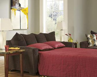 Brogain Walnut Chenille Fabric Upholstered Contemporary Queen Size Sleeper Sofa