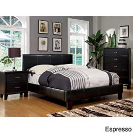 Metro Shop Furniture of America Kutty Queen Padded Leatherette Platform Bed-ESPRESSO