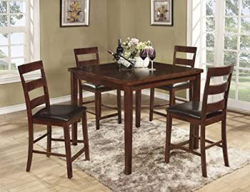 Roundhill Furniture 5 Piece Amery Counter Height Dining Set, Dark Cherry