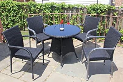 5 Pc Patio Resin Outdoor Wicker Dining Set. Round Table w/Glass+4 Arm Chair. Black Color