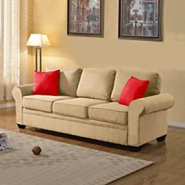 Exclusive Divano Roma Furniture Signature Traditional Design - Soft Linen Sofa in Color Dark Grey, Light Grey, Beige, and Red Includes 2 Accent Pillows (Beige)