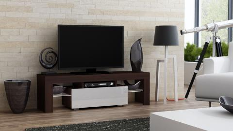 Milano 130 - wenge tv stand with shelves