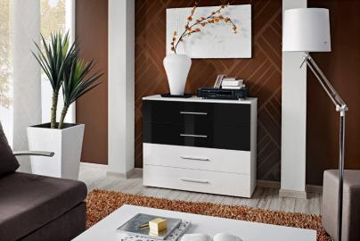 SB GO 6 - White and Black 4 drawer dresser