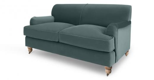Orson 2-Sitzer Sofa, Samt in Gruen - MADE.com