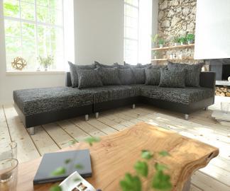 DELIFE Ecksofa Clovis Schwarz mit Hocker Ottomane Rechts Modular, Design Ecksofas, Couch Loft, Modulsofa, modular