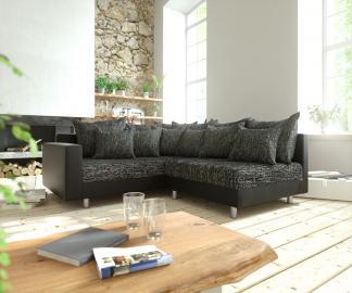 DELIFE Ecksofa Clovis Schwarz modular Armlehne Ottomane Links, Design Ecksofas, Couch Loft, Modulsofa, modular