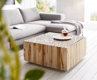 DELIFE Wohnzimmertisch Ladarius 80x80 Teak Natur rollbar Holzscheiben, Couchtische