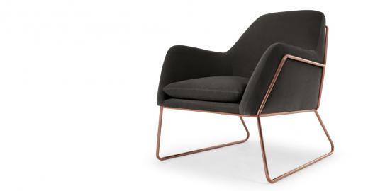 Frame Sessel, Kupfer und Samt in Betongrau - MADE.com