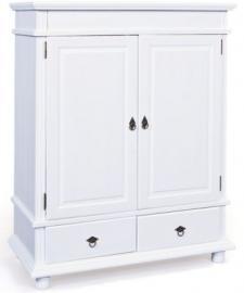 Kleiderschrank Danz, 2-türig, Kiefer massiv, weiß lackiert